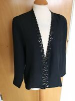 Ladies MASAI Jacket Size 12 14 Black Beaded Neckline Smart Party Evening