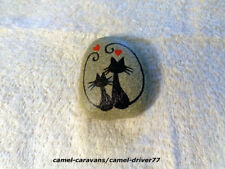 Hand Painted Original Rock Stone Art - Black Cats Silhouette Sweethearts LOVE