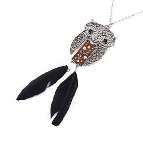 Xmas Vintage antique bronze flower nightowl pattern design necklace pendant
