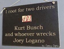 Kurt Busch wrecks Joey Logano Driver Sign Racing Bar Man Cave Ticket Rare