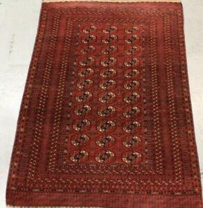 Old Handmade Traditional Turkmen Bukhara Wool Rug 181cm x 122cm