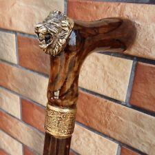 """Lion Cane Walking Stick Wooden BURL Handmade Men's Accessories Cane 33-37"""" inch."""