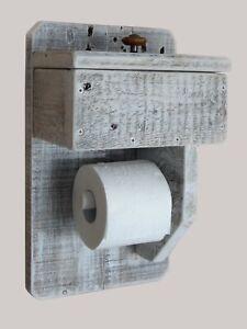 Toilettenpapierhalter Rollenhalter mit Box für Feuchttücher Massivholz rustikal