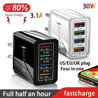 USB Wall Charger 4-port USB Electrical Plug QC3.0 Fast Charging Travel Outlet NE