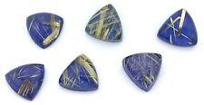 ONE 13mm Triangle Rutilated Quartz Lapis Lazuli Cabochon Gem Stone Gemstone Cab