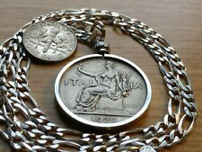 """1928 Lady Victory Italy 1L Pendant on a 23"""" Italian Silver 4Mm Figaro Chain."""
