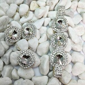 Silver Plated Clear White Cubic Zirconia Necklace, Bracelet And Earrings Set
