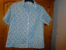 Turquoise blue and grey floral short sleeve blouse, EDINBURGH WOOLLEN MILL, 14