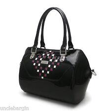 Serenade Black Woven Mosaic Genuine Leather Handbag (SH30-7140)