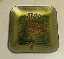 Vtg Maggie Howe, Mexico  Square Enamel Copper Plate gold, Green & Orange Bush