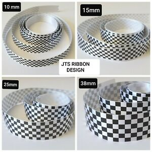Racing Ribbon/Chequered Flag Ribbon Various Widths & Lengths available
