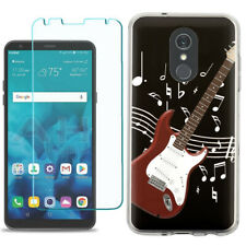 TPU Phone Case for LG Stylo 5 w/ Tempered Glass - Guitar Red