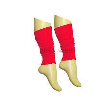 Girls Teen 80's Dance Plain Ribbed Leg Warmers Women Legwarmer Fancy Dress Tutu Red
