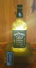 Jack Daniels Whisky Bottle Lamp with Remote LED Fairy Lights and Oak Base