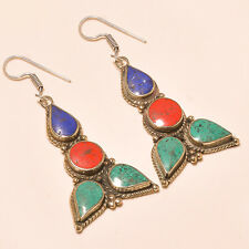 Lazuli Jewelry Tibetan Earring S-6 Cm Attractive Turquoise & Red Coral, Lapis