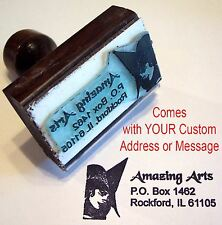 Witch Face Rubber Stamp With Custom Address/Message