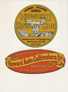 Howard Auto-Cultivator Vintage Rotary Hoe and Mower Repro Decals