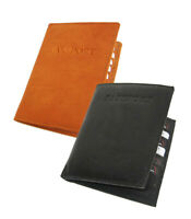 WORLD PASSPORT COWHIDE LEATHER COVER Travel 8 Card Case Wallet U.S Seller