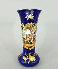 Helena Wolfsohn Dresden, große Vase, Tanzende Bauern, kobaltblauer Fond, um 1890
