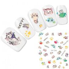 Nagel Sticker Nail Art Aufkleber Katzen Cat Blumen Schmetterling Water Decal