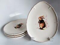 """4x Magenta Designer Egg-Shaped Plates Easter Rabbit Bunny Vintage Script 8"""""""