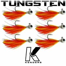 (6 pack) Tungsten Feather Panfish Jig - PINK/YELLOW - 1/16 oz - #2 Hook