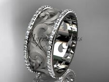 Unique Wedding Bands, 14K White Gold Diamond Engagement Ring Bands ADLR121BD