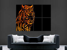FIRE TIGER CAT WILD LARGE WALL PICTURE POSTER GIANT HUGE ART