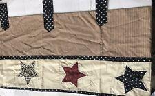 Americana Valance JCP 78 X 15 Ivory Navy Blue Dark Red Tab Top Folk Art Stars