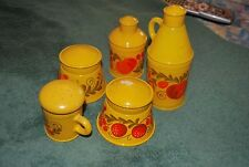 Set 5 Vintage 1970's Avon Pennsylvania Dutch Bottles Yellow Orange Fruit Sonnet