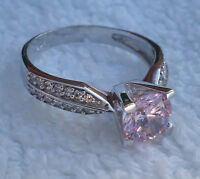 1CT NEW RING PINK STONE 925 STERLING SILVER SOLITAIRE WITH ACCENTS SIZE J1/2- Z
