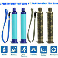 4 Pack Portable Water Filter Straw Personal Purifier Outdoor Emergency Survival
