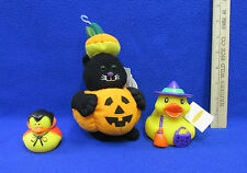 Halloween Black Cat Plush Pumpkin Costume & Rubber Ducks Witch & Dracula Lot 3