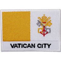 Vatican City Flag Embroidered Iron / Sew On Patch Pope Rome Italy Church Badge