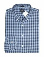 J Crew Factory - Mens S - Slim Fit - Navy Blue Gingham Washed Cotton Shirt