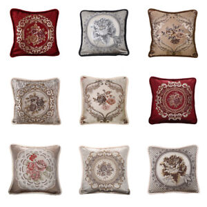 Cushion Cover Home Car Retro European Style Floral Embroidery Pillow Case 19''