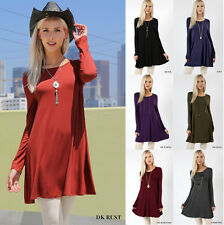 S M L Solid Colors Long Sleeve Tunic Top Womens Loose Fit Mini T-Shirt Dress