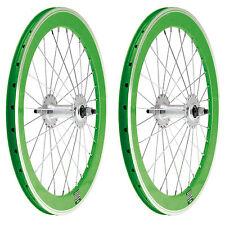 """2x Llanta Rueda para Bicicleta BMX GRAZIELLA 20"""" Fixed Aluminio Color VERDE 3749"""