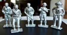 Vintage Gray Iron Lead Soldiers: 4 Pirates 1 Cowboy