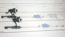 "(2) Solid Ice Fishing Pole Rod & Reel Combo Pro-Am Shakespeare 28"" Medium 4.8:1"