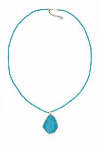 Designer Kendra Scott SIGNED Turquoise Beatrix Bead Statement Pendant Necklace