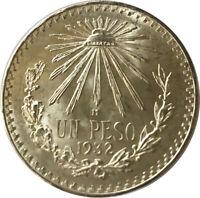 1932 Mexico Silver Cap & Rays Un Peso Uncirculated