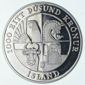 SILVER - WORLD Coin - 2000 Iceland 1000 Kronur - World Silver Coin *475