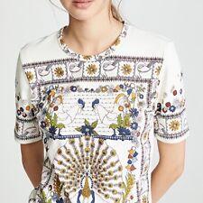TORY BURCH Peacock Meadow Kerry Print T-Shirt Ivory NEW sizes  XS / X-SMALL AZ-