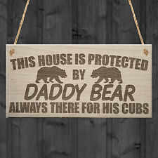 Daddy Bear There For His Cubs Father's Day Hanging Plaque Dad Grandad Gift Sign