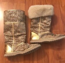 COACH Nikole Gold Signature Lurex Shearling Mid-Calf Boots Size 7B