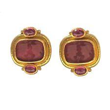 Elizabeth Locke 18K Gold Tourmaline Venetian Glass Intaglio Earrings