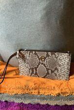 Michael Kors Jet Set Snake Skin Taupe Multi Leather Credit Card ZipClutchWristet