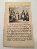 K28) General George Washington Visit To Rall American Revolution 1860 Engraving