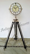 "Nautical Vintage Clock 12"" On Heavy Floor Tripod Nautical Brass Clock Home Decor"